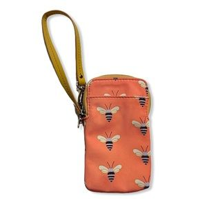 Fossil Wallet Cell Phone Holder Wristlet Bees